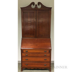 Chippendale-style Inlaid Cherry Desk/Bookcase