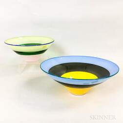 Two Simon Moore Studio Glass Bowls