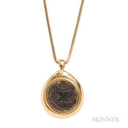18kt Gold and Ancient Coin Pendant