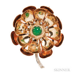 Retro 14kt Bicolor Gold, Chrysoprase, and Diamond Flower Pendant/Brooch