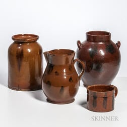 Four Manganese-decorated Redware Table Items