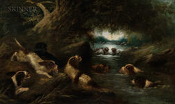Edward George Armfield (British, 1817-1896)      Otterhounds Frolicking at a River
