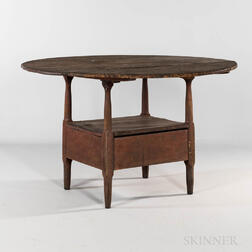 Pine and Maple Circular-top Hutch Table