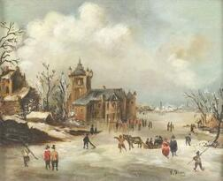 Continental School, 19th Century,   Out on the Frozen River