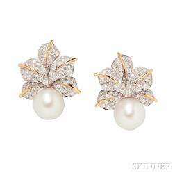 Platinum, 18kt Gold, South Sea Pearl, and Diamond Earclips