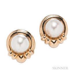 14kt Gold and Mabe Pearl Earclips