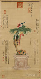 Scroll Painting Depicting a Phoenix