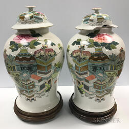 Pair of Large Covered Famille Rose Jars
