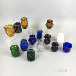 Fourteen Mostly Colored Pressed Glass Christmas Lights