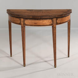 Georgian-style Mahogany Satinwood- and Mahogany-veneered Inlaid Demilune Card Table