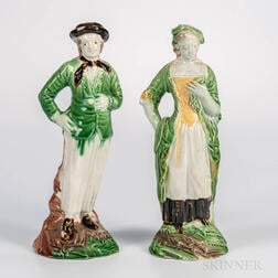 Pair of Staffordshire Lead-glazed Figures