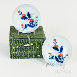 Pair of Japanese Blue and White Porcelain Saucers