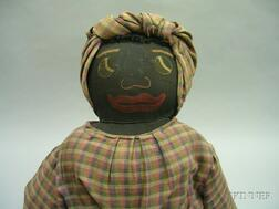 Large Hand-Made Black Rag Mammy Doll and Wicker Chair