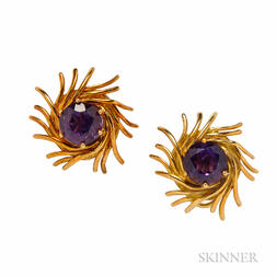 18kt Gold and Amethyst Earclips, Schlumberger