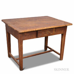 Rustic Oak and Pine One-drawer Tavern Table