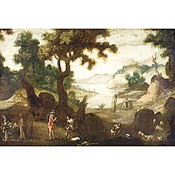 Flemish School, 17th Century Style  Animated Landscape With Cavaliers, Friars and Huntsmen
