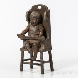 Clement Leopold Steiner (French, 1853-1899) Bronze Figure of a Crying Baby in a High Chair