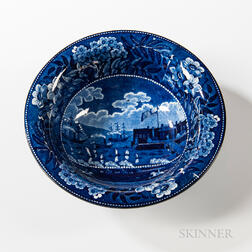 """Staffordshire Historical Blue Transfer-decorated """"Landing of Lafayette"""" Serving Bowl"""