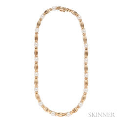 18kt Gold and Cultured Pearl Necklace, Tiffany & Co.