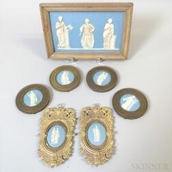 Seven Wedgwood Light Blue Jasper Items