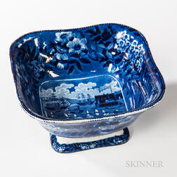 """Staffordshire Historical Blue Transfer-decorated """"Landing of Lafayette"""" Square Serving Bowl"""