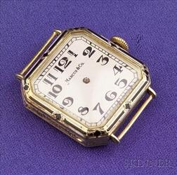 Art Deco 14kt Gold and Enamel Wristwatch, Marcus & Co.
