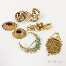 Five Antique Gold Brooches