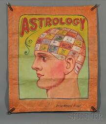 """Polychrome-painted Canvas """"ASTROLOGY"""" Circus Banner"""