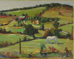 American School, 20th Century      Rolling Farm Landscape with White Horse
