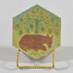 Grueby Pottery Arts and Crafts Hexagonal Tile