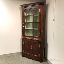 Federal Two-part Glazed and Stained Pine Corner Cabinet