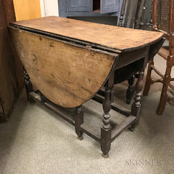 William and Mary Turned Oak Gate-leg Drop-leaf Table