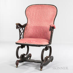 Patent Wood and Cast Iron Armchair