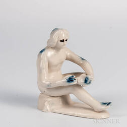 Staffordshire White Salt-glazed Stoneware Figure of Spinario