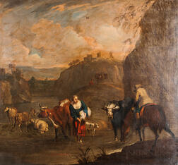 Dutch School, 17th Century      Italianate Landscape with Figures and Livestock at a River