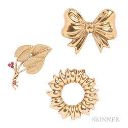 Three 18kt Gold Brooches, Tiffany & Co.