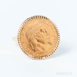 1868 10 Franc Coin Mounted as a Ring