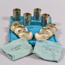 Six Tiffany & Co. Footed Shell-form Salts and Four Toothpick Holders