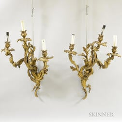 Pair of Rococo-style Bronze Three-light Sconces