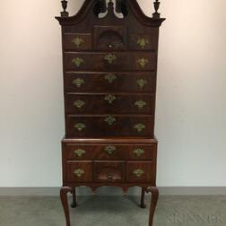 Diminutive Queen Anne-style Carved Mahogany High Chest