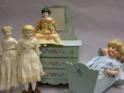 Group of Dolls and Doll Furniture