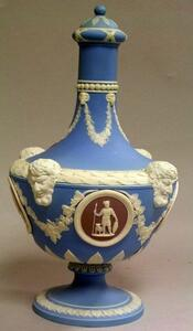 Wedgwood Three-Color Jasper Dip Barber Bottle with Cover.