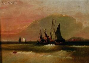 William Otis Bemis (American, 1819-1883)    Luggers Exchanging Cargo at Boston Outer Harbor, Georges and Peddicks Isles in Background