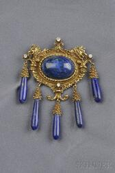 18kt Gold Lapis and Diamond Brooch/Pendant, Erwin Pearl