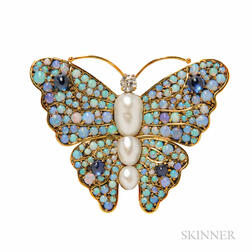 14kt Gold, Diamond, and Opal Brooch