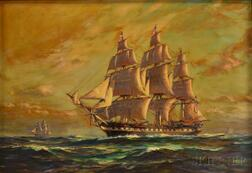 Frank Vining Smith (American, 1879-1967)      USS Constitution   Under Full Sail