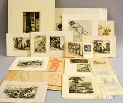 Group of Unframed Prints and Drawings, Primarily American Mid-20th Century:      Clara Anna Hatton (1901-1991)