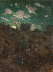 Paul Fontaine Mersereau (American, b. 1868)    Night Landscape with Moon and Clouds