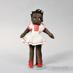 Black Cloth Girl Doll in a Red and White Jumper