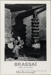 Brassai (1899-1984) Signed Poster Featuring the Photograph: Picasso au Poele, Rue des Grands Augustins, 1939.